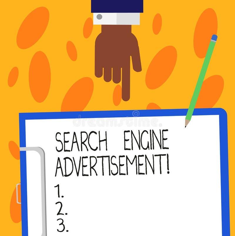 Anuncio del Search Engine de la demostración de la muestra del texto Foto conceptual que coloca los anuncios en línea en el análi stock de ilustración