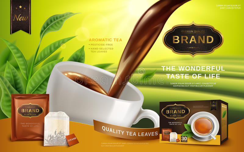 Anuncio del té negro stock de ilustración