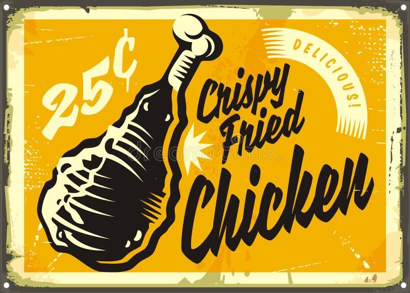 Anuncio del vintage con el pollo frito curruscante delicioso libre illustration