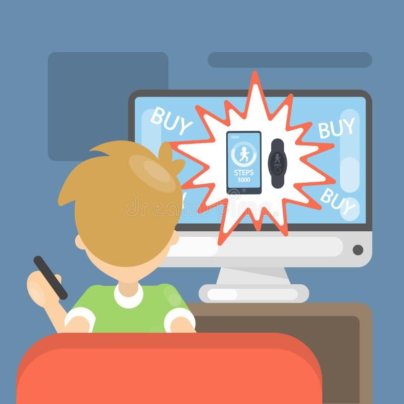 Anuncio en la TV ilustración del vector