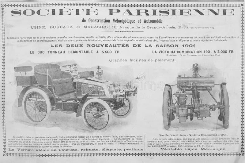 Anuncio francés viejo sobre los coches de los fin del siglo XIX imagenes de archivo