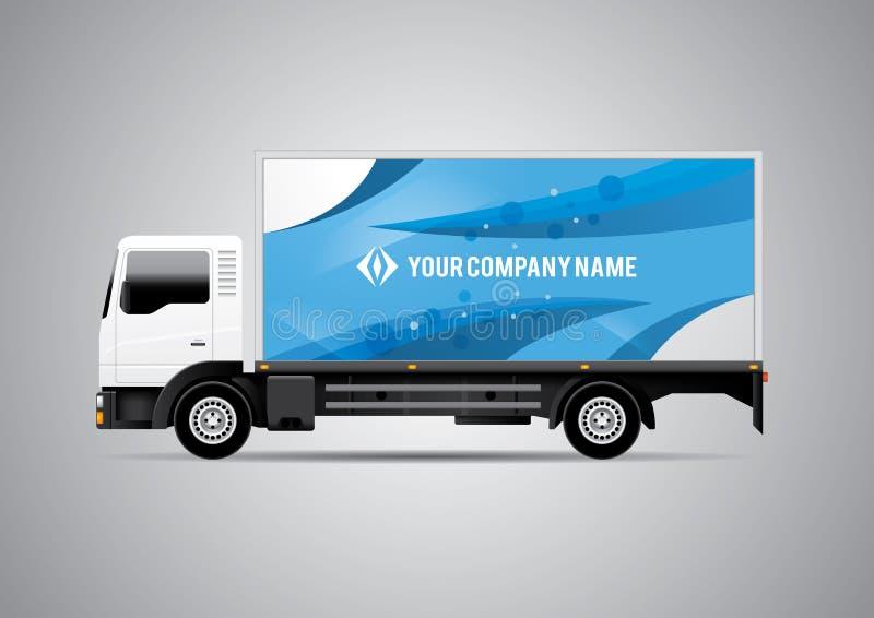 Anuncio o plantilla del diseño de la identidad corporativa en el camión blanco stock de ilustración