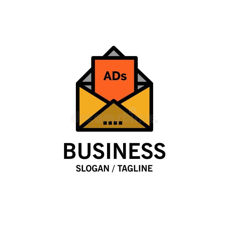 Anuncio, publicidad, correo electrónico, letra, negocio Logo Template del correo color plano stock de ilustración