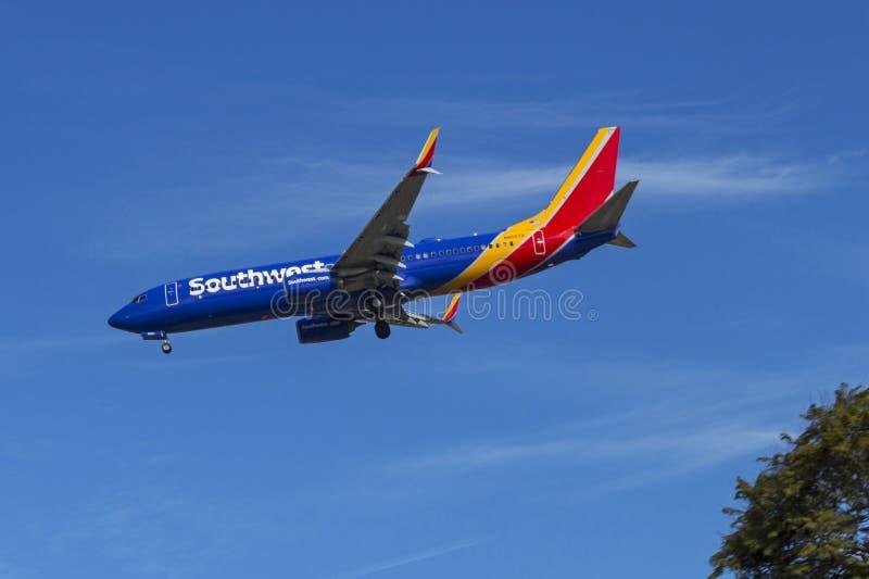 Anuncio publicitario Jet Airplane de Southwest Airlines imágenes de archivo libres de regalías