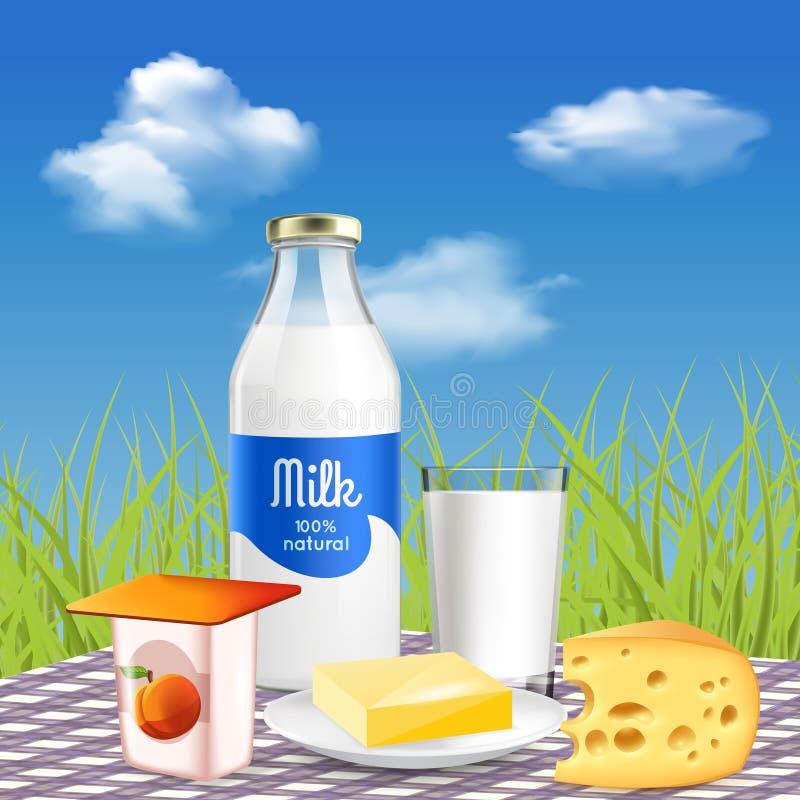 Anuncio realista de la lechería de la leche ilustración del vector