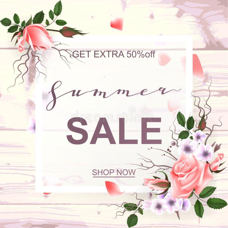 Anuncio sobre la venta del verano en el fondo de madera con las rosas hermosas Ilustración del vector ilustración del vector