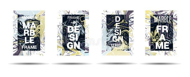 Anuncio técnico de la pintura líquida de Suminagashi, cartel de la música, tarjeta de motivación, fondo de la cubierta Frontera d ilustración del vector