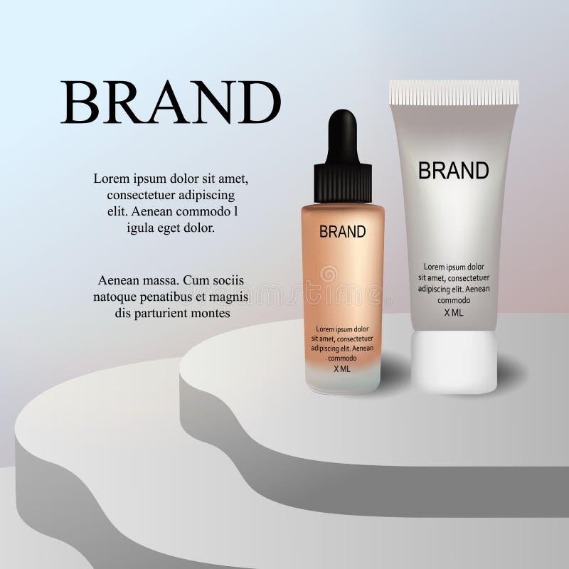 Anuncios cosméticos superiores del VIP, crema facial de lujo de hidratación para la venta ejemplo realista del vector 3D ilustración del vector