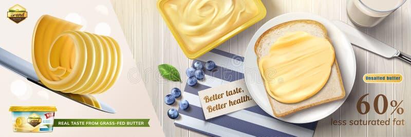 Anuncios cremosos de la mantequilla stock de ilustración