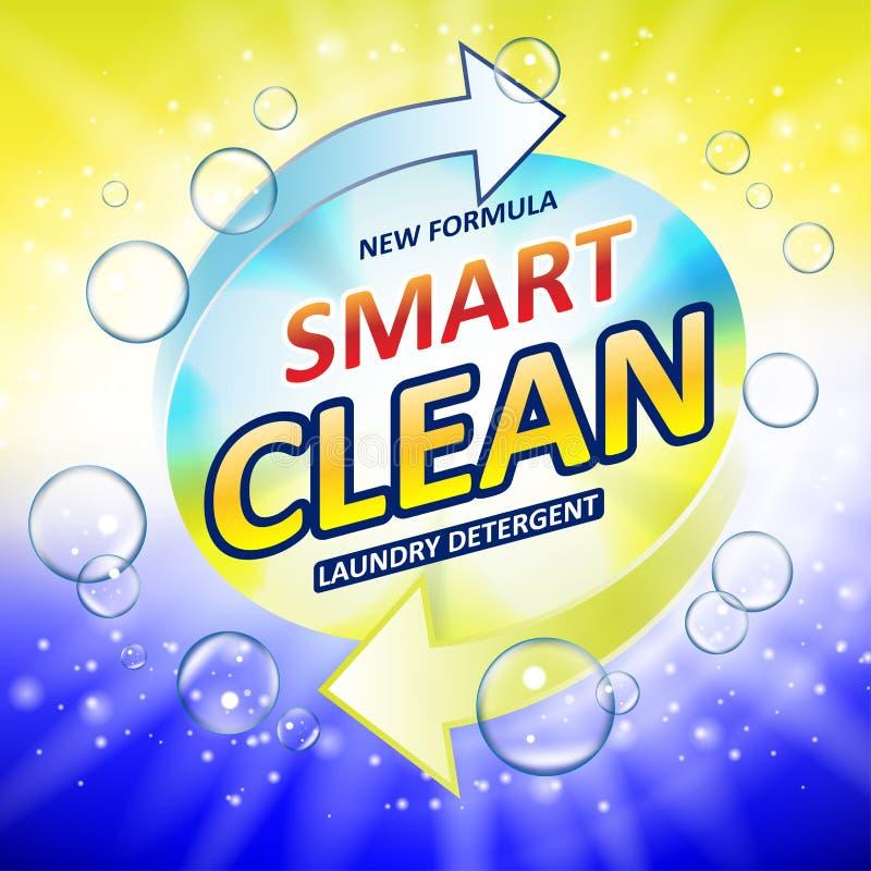 Anuncios de la bandera de la despedregadora de la tina del retrete o del cuarto de baño Diseño del detergente para ropa del retre stock de ilustración