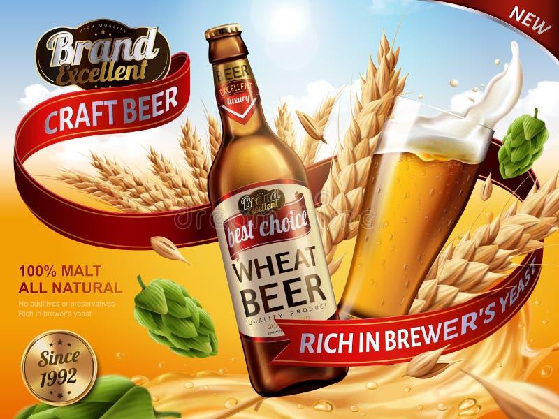 Anuncios de la cerveza del trigo ilustración del vector