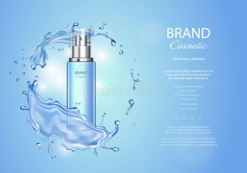 Anuncios de la tinta del hielo con el chapoteo del agua azul La botella transparente del espray, agua cae, los anuncios de produc ilustración del vector
