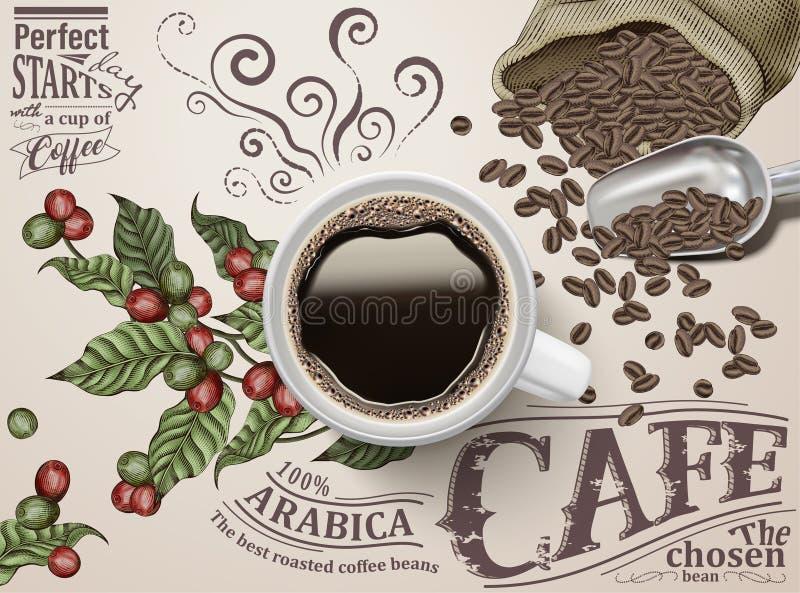 Anuncios del café sólo stock de ilustración