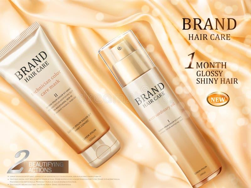 Anuncios del cuidado del cabello stock de ilustración