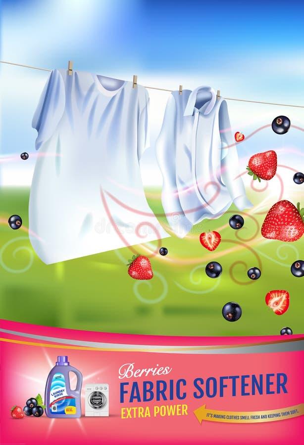 Anuncios del gel del suavizador de la tela de la fragancia de las bayas El ejemplo realista del vector con ropa del lavadero y el libre illustration
