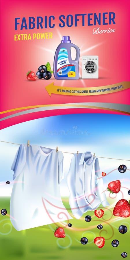 Anuncios del gel del suavizador de la tela de la fragancia de las bayas El ejemplo realista del vector con ropa del lavadero y el stock de ilustración