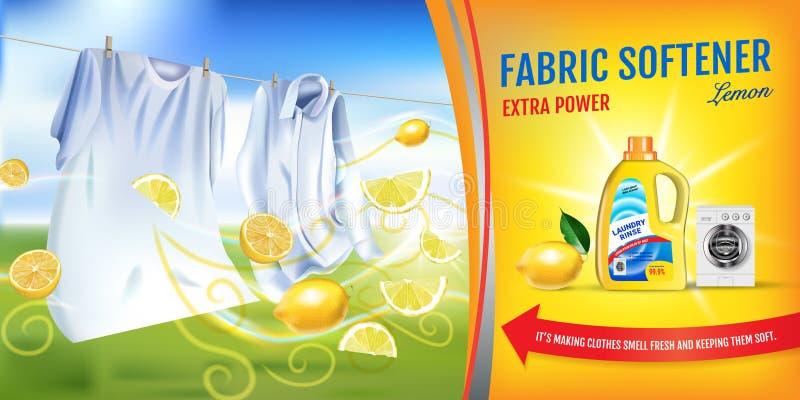 Anuncios del gel del suavizador de la tela de la fragancia del limón El ejemplo realista del vector con ropa del lavadero y el su ilustración del vector