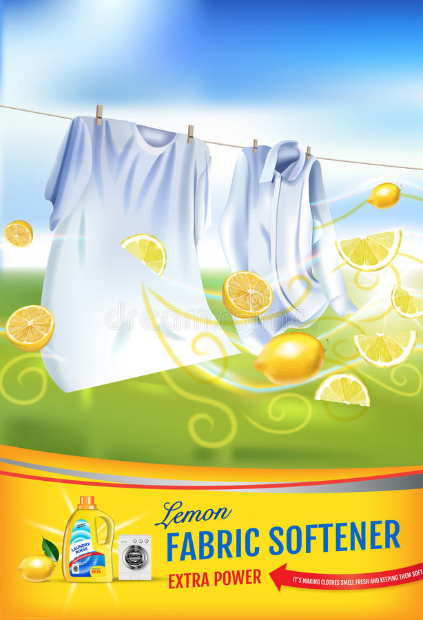 Anuncios del gel del suavizador de la tela de la fragancia del limón El ejemplo realista del vector con ropa del lavadero y el su libre illustration