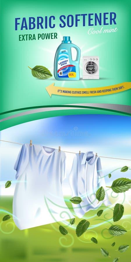 Anuncios del gel del suavizador de la tela de la fragancia de la menta El ejemplo realista del vector con ropa del lavadero y el  stock de ilustración
