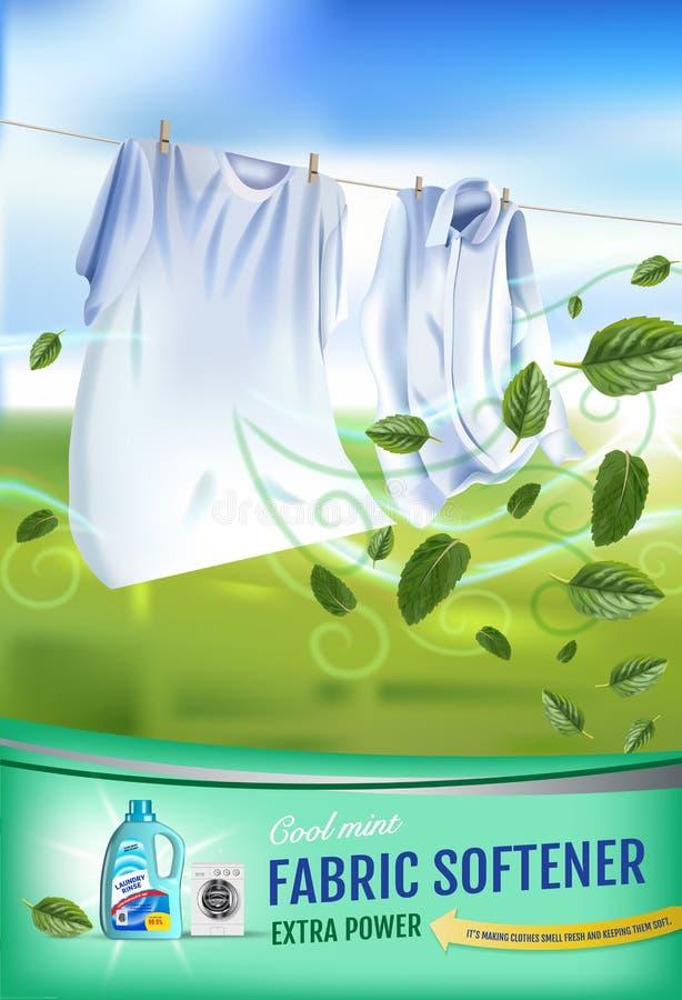 Anuncios del gel del suavizador de la tela de la fragancia de la menta El ejemplo realista del vector con ropa del lavadero y el  ilustración del vector