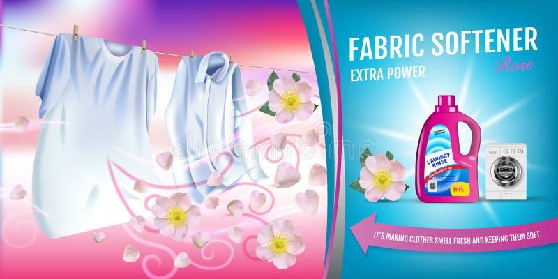 Anuncios del gel del suavizador de la tela de la fragancia de Rose El ejemplo realista del vector con ropa del lavadero y el suav libre illustration