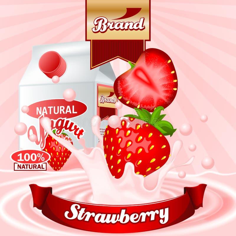 Anuncios del yogur de la fresa Salpicar escena con el paquete y las frutas Maqueta Editable ilustración del vector