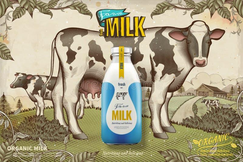 Anuncios frescos de la leche de la granja stock de ilustración