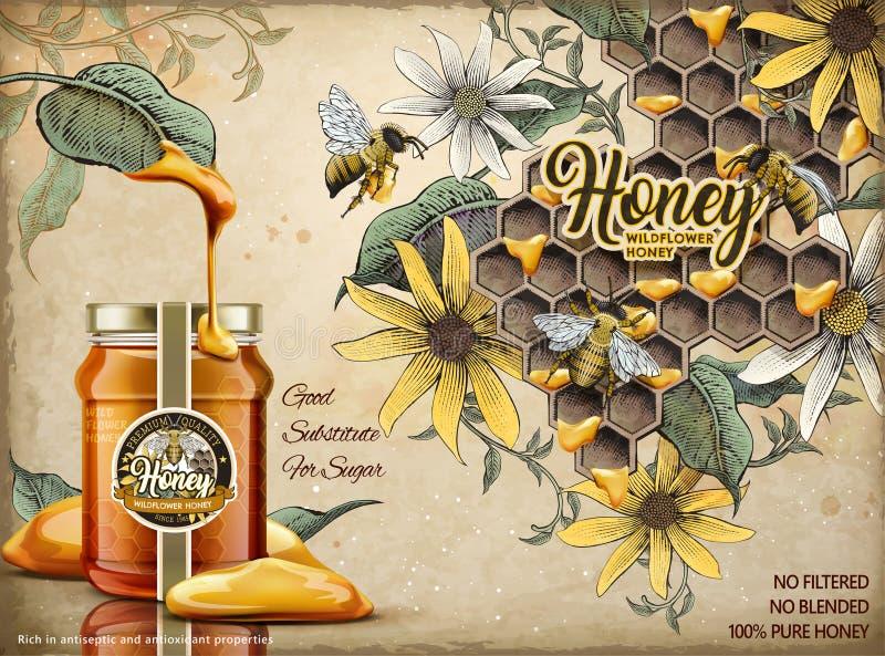 Anuncios naturales de la miel stock de ilustración