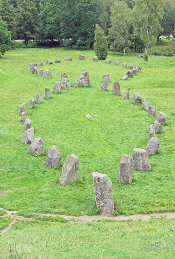 Anundshog cmentarz, rune kamień zdjęcie royalty free