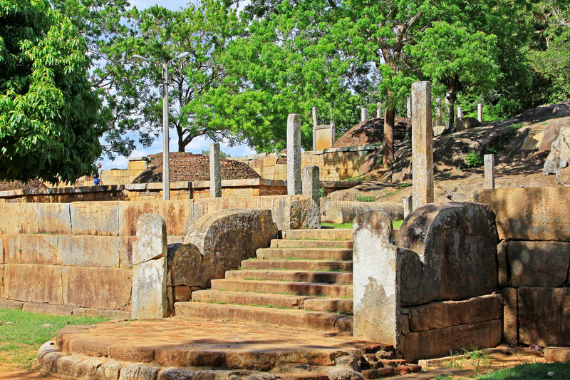 Anuradhapura Mihintale Conference Hall, Sri Lanka UNESCO World Heritage. Mihintale is a mountain peak near Anuradhapura in Sri Lanka. This large stupa known as stock photos