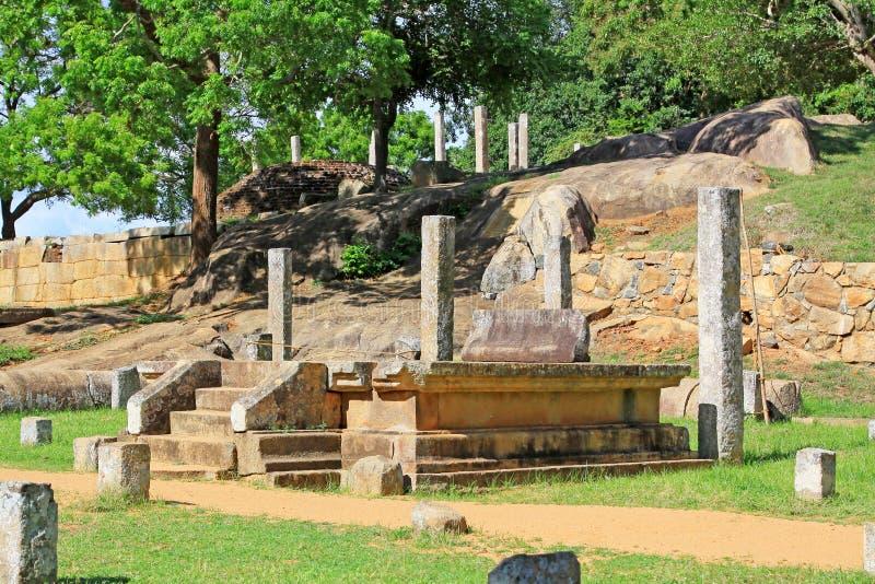 Anuradhapura Mihintale Conference Hall, Sri Lanka UNESCO World Heritage. Mihintale is a mountain peak near Anuradhapura in Sri Lanka. This large stupa known as stock photography