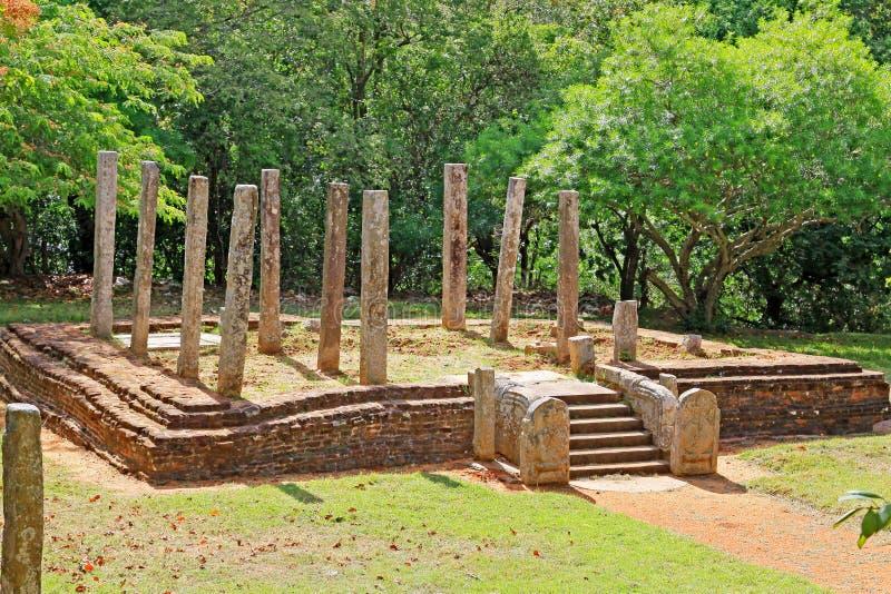 Anuradhapura Mihintale Conference Hall, Sri Lanka UNESCO World Heritage. Mihintale is a mountain peak near Anuradhapura in Sri Lanka. This large stupa known as royalty free stock images