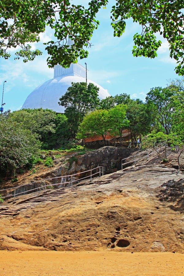 Anuradhapura Mihintale Maha Stupa, Sri Lanka UNESCO World Heritage. Mihintale is a mountain peak near Anuradhapura in Sri Lanka. This large stupa known as the royalty free stock images