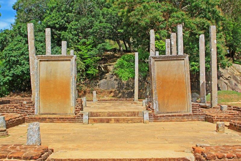 Anuradhapura Mihintale Slab Inscriptions, Sri Lanka UNESCO World Heritage stock photos