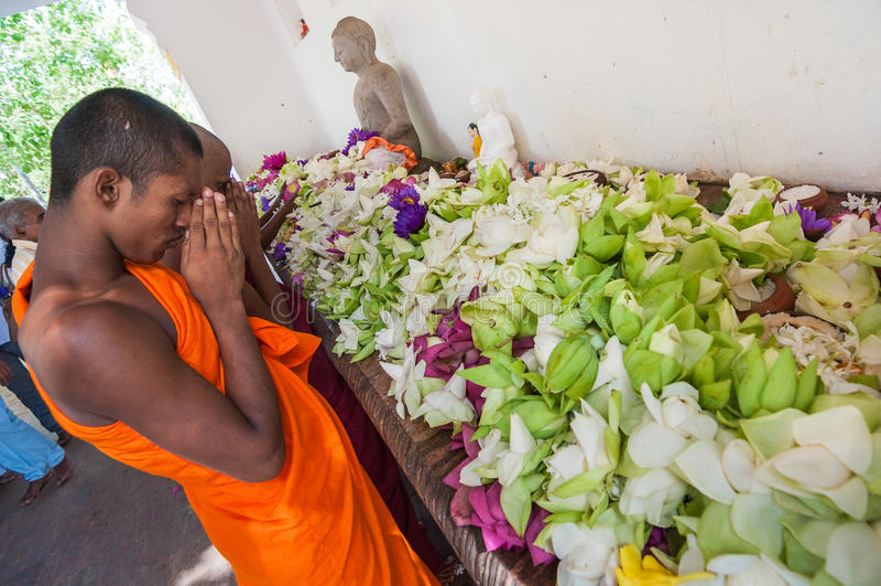 ANURADHAPURA, SRI LANKA - AUGUST 31, 2010: Buddhis royalty free stock images