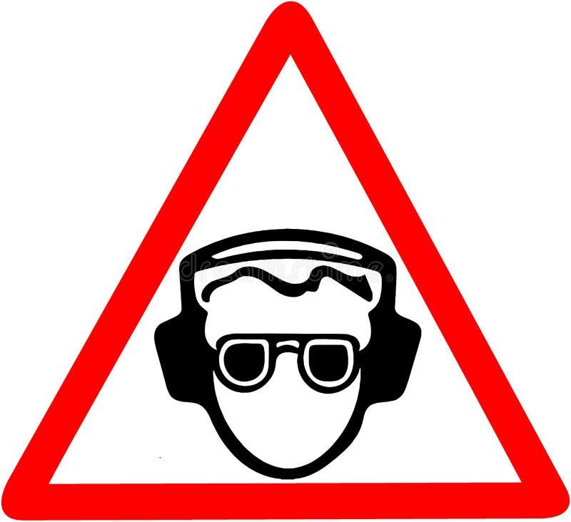 Använd ditt öraskydd, oväsenförorening, var säker att använda ljudtätt varna för hörlurar Rött förbudvarningssymbol royaltyfri illustrationer