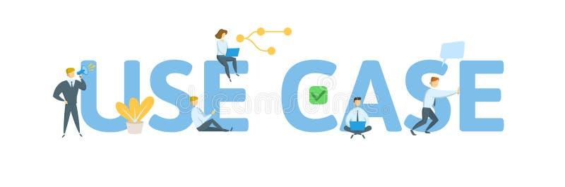 Använd fallet Begrepp med folk, bokstäver och symboler Plan vektorillustration bakgrund isolerad white stock illustrationer