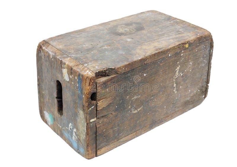 Använd gammal brun träställning arkivbilder