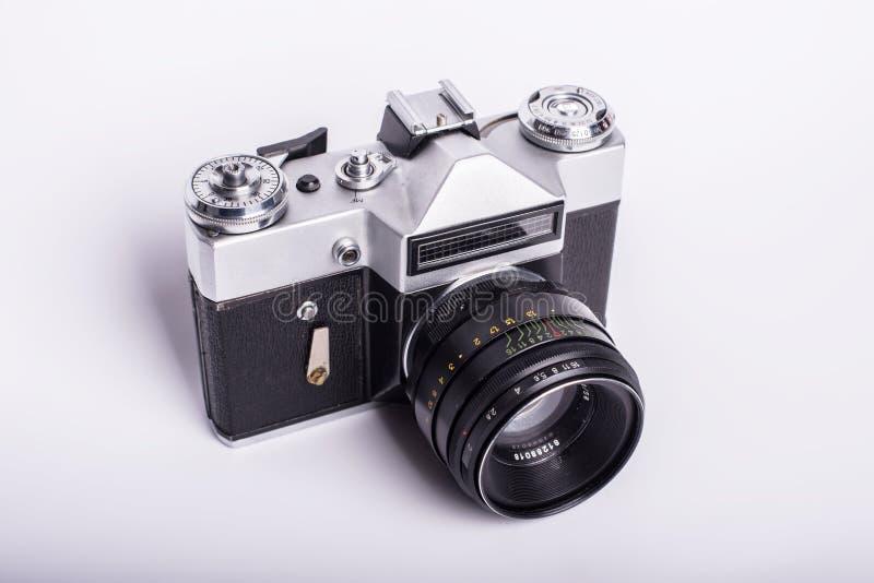 använd smutsig danad gammal photocamera för film royaltyfri bild