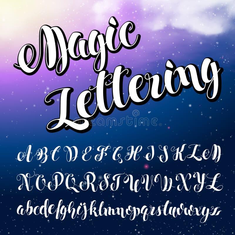 använd teknologi för ta för bilder för foto för lampa för alfabetengelskafrysning var Modern borstad bokstäver royaltyfri illustrationer