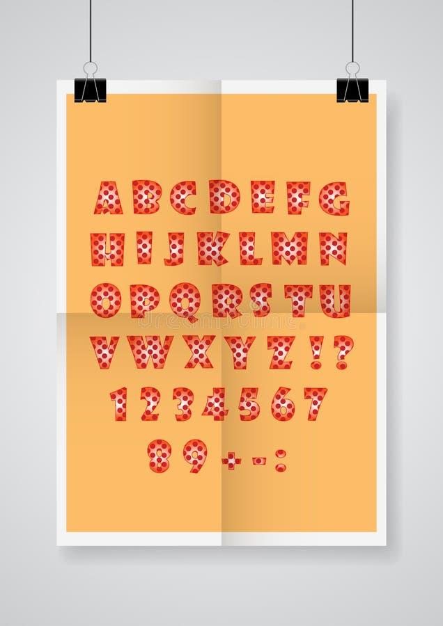 använd teknologi för ta för bilder för foto för lampa för alfabetengelskafrysning var Två gånger en vikt orange affisch med klämm royaltyfri illustrationer