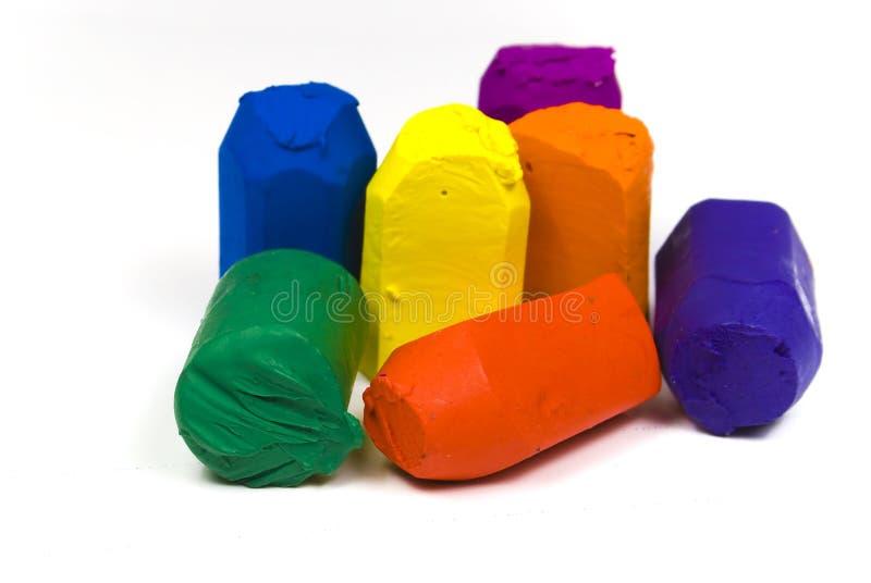 använd wax för crayons sju royaltyfri foto