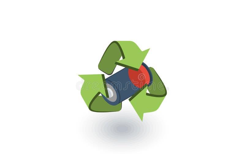 Använda batterier med den isometriska plana symbolen för grönt återvinningsymbol vektor 3d vektor illustrationer