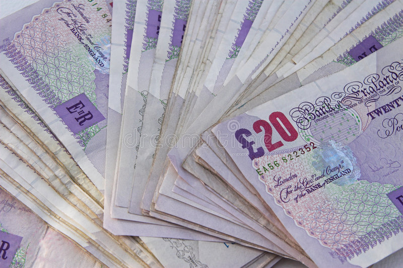 använda engelska pengar royaltyfria foton