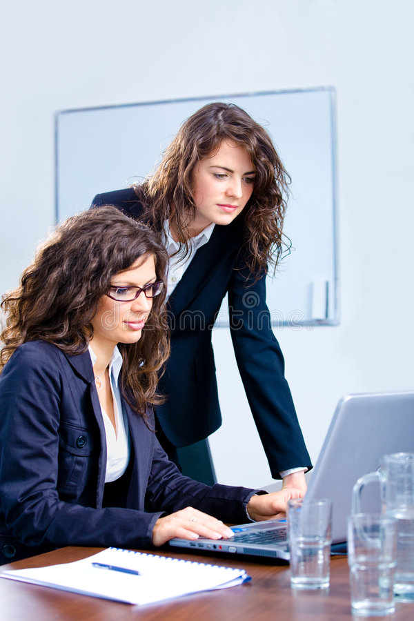 använda för affärskvinnabärbar dator arkivbilder