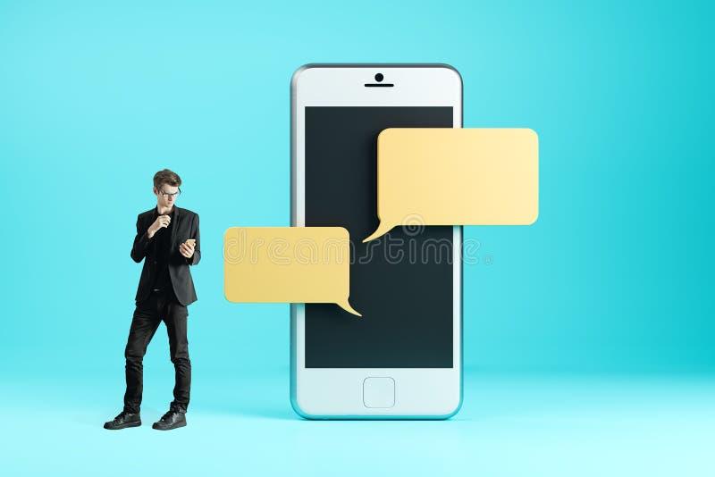 använda för affärsmanmobiltelefon royaltyfri illustrationer