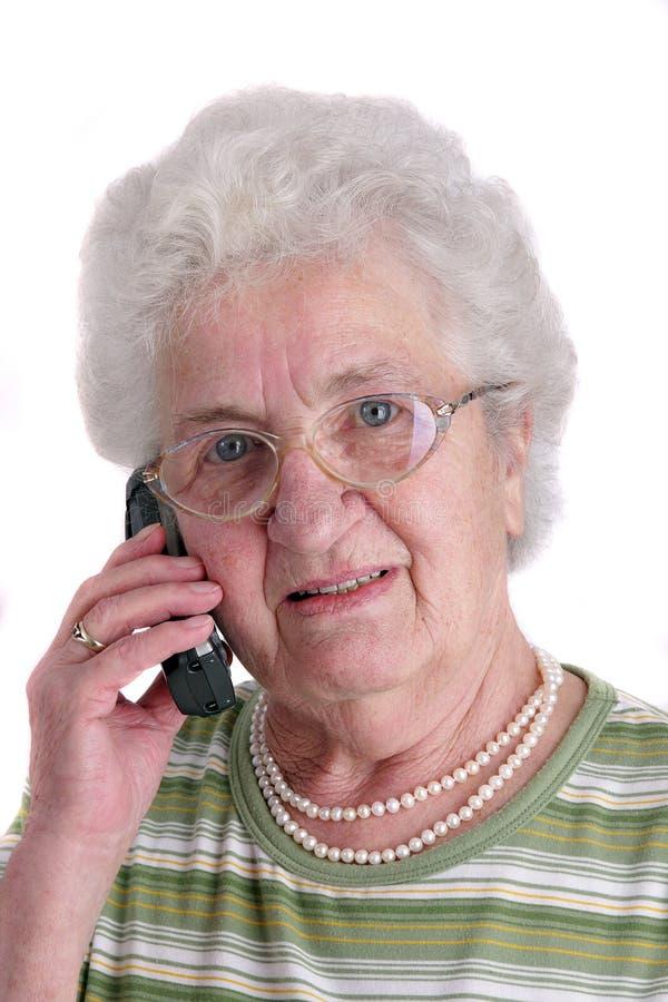 använda för mobil telefon för lady högt royaltyfria bilder