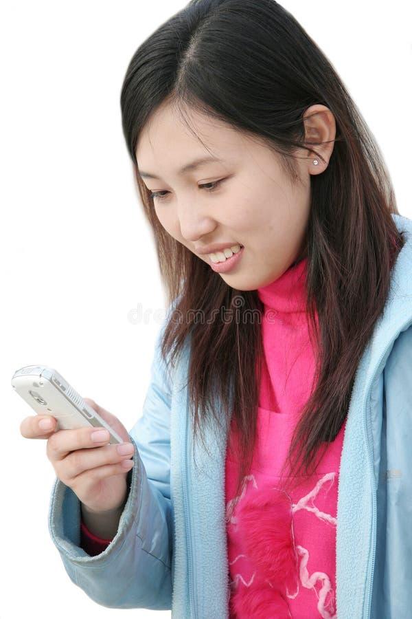 använda för mobiltelefonflicka arkivbilder