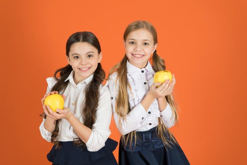 Använda första gulliga skolflickor för näring som rymmer äpplen Skolbarn med det sunda äpplemellanmålet Ta för små flickor arkivbild