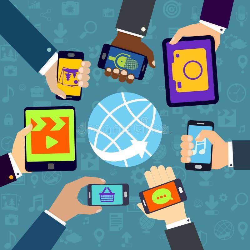 Använda mobilservice stock illustrationer
